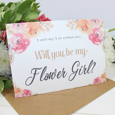 Will you be my Flower Girl? Card Watercolour Flowers 'Viola'