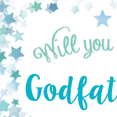 Will you be my Godfather or Godmother Card? Blue Stars