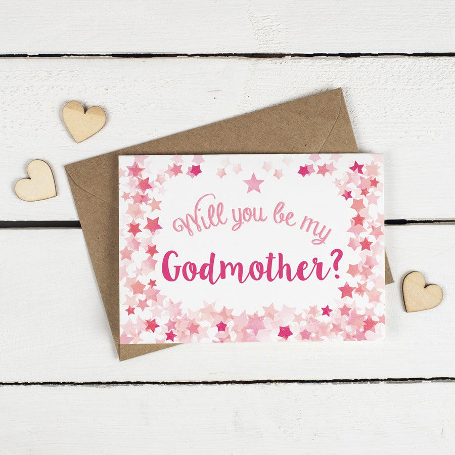 Will you be my Godfather or Godmother Card? Pink Stars