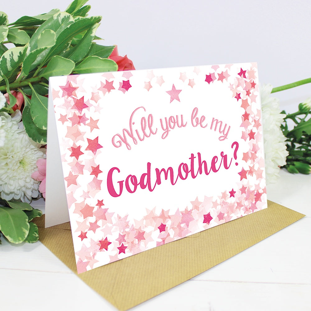 Will you be my godfather or godmother card pink stars christening will you be my godfather or godmother card pink stars m4hsunfo