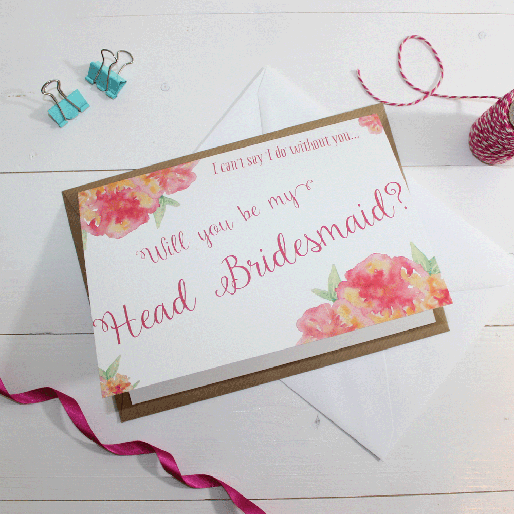Cards - Will You Be My Head Bridesmaid? Card 'Christine'