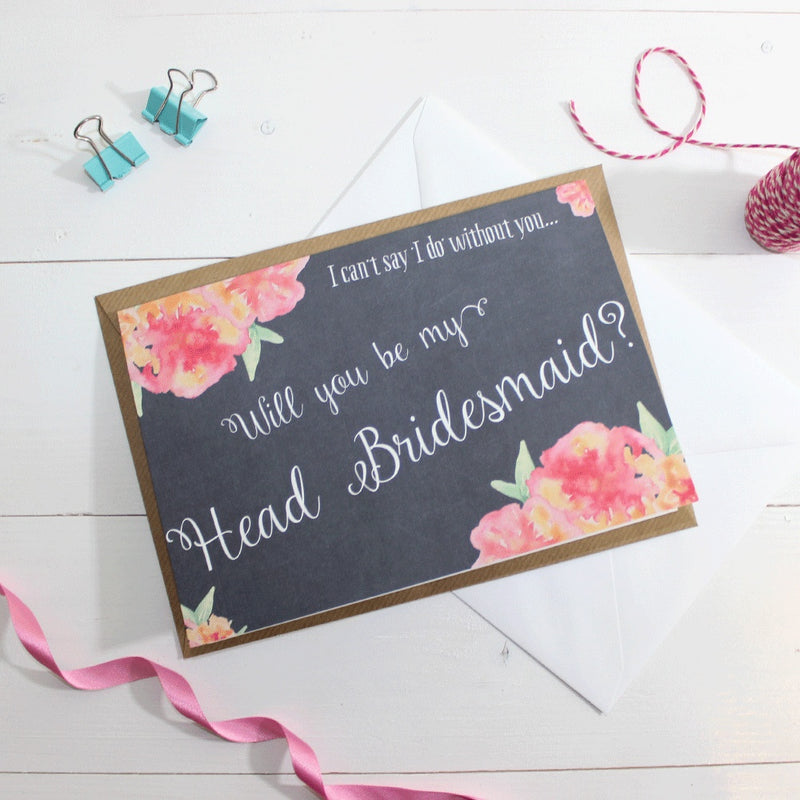 Will you be my Head Bridesmaid? Card 'Christine' Chalkboard