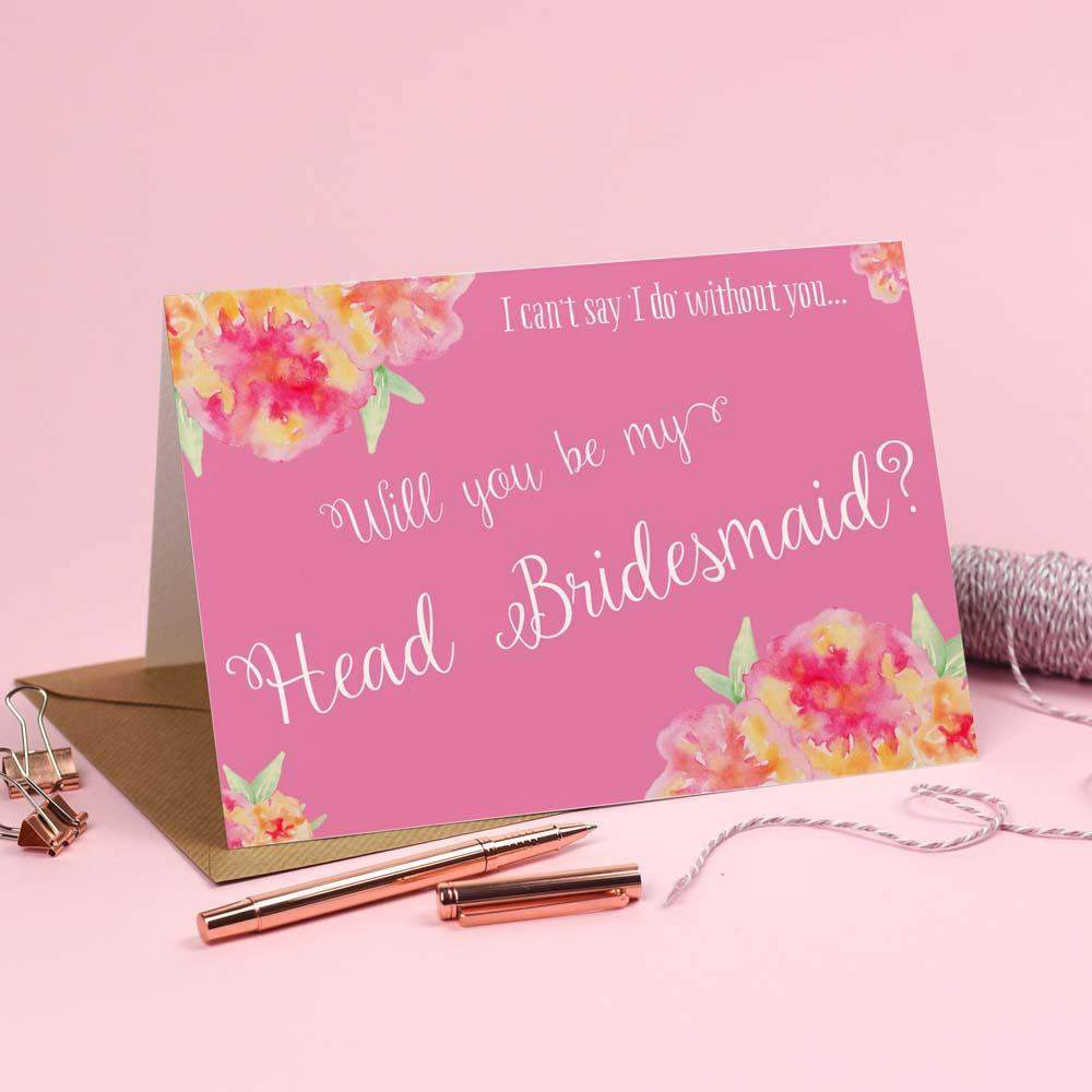 Will you be my Head Bridesmaid? Card 'Christine' Pink