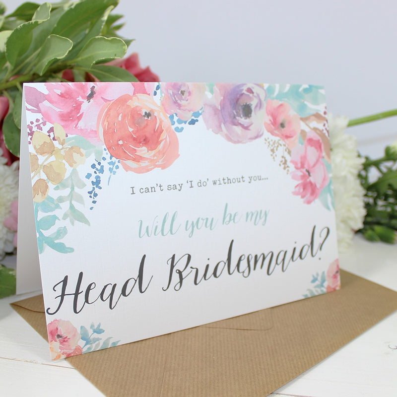 Will you be my Head Bridesmaid? Card Watercolour 'Selena'