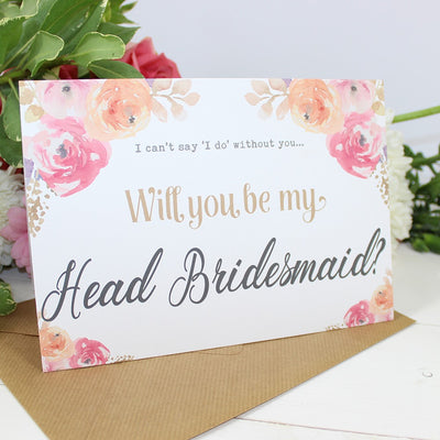 Will you be my Head Bridesmaid? Card Watercolour 'Viola'