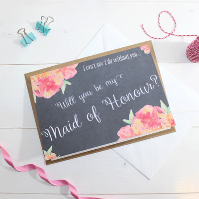 Will you be my Maid of Honour? Card 'Christine' Chalkboard