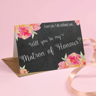 Will you be my Matron of Honour? Card 'Christine' Chalkboard