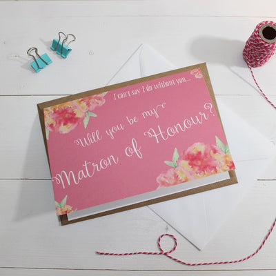 Will you be my Matron of Honour? Card 'Christine' Pink