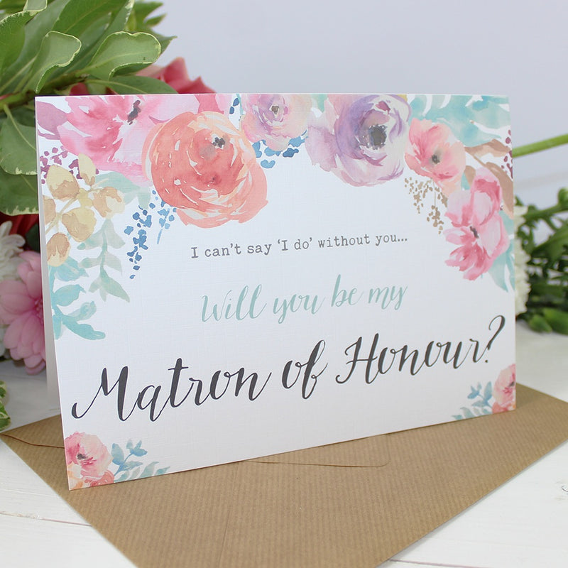 Will you be my Matron of Honour? Card Watercolour 'Selena'