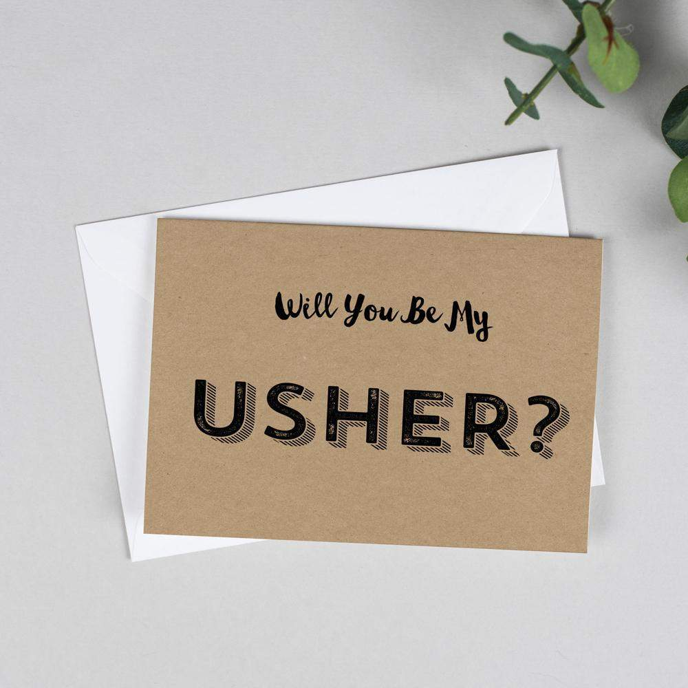 Will you be my Usher? Retro Kraft Card