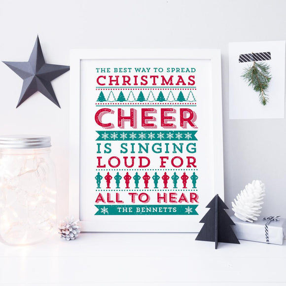 Christmas - ELF 'The Best Way To Spread Christmas Cheer!' Personalised Print