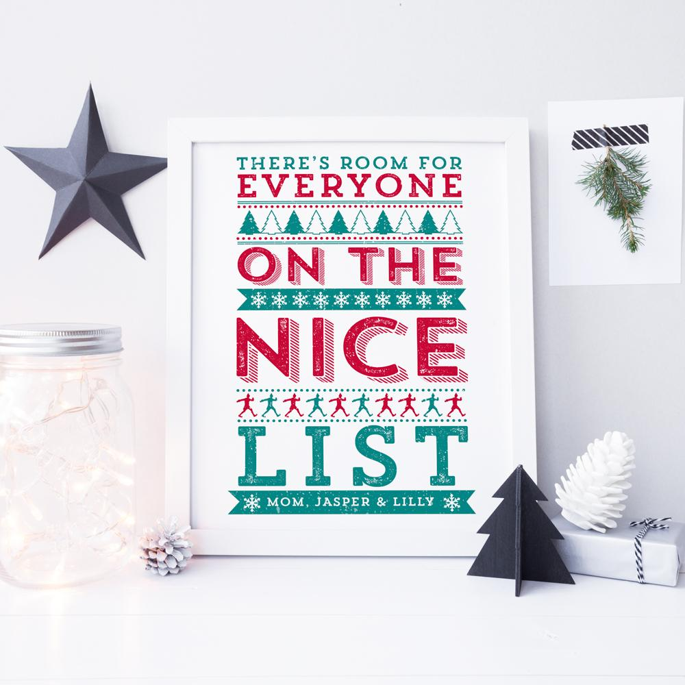 ELF 'There's room for everyone on the Nice List!' Personalised Print