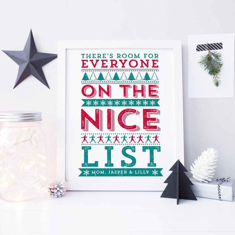Christmas - ELF 'There's Room For Everyone On The Nice List!' Personalised Print