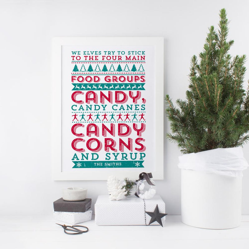 ELF 'We Elves try to stick to the four main Food Groups...' Personalised Print