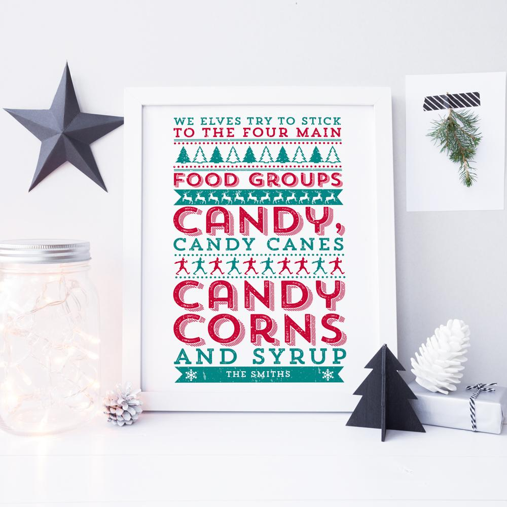 Christmas - ELF 'We Elves Try To Stick To The Four Main Food Groups...' Personalised Print
