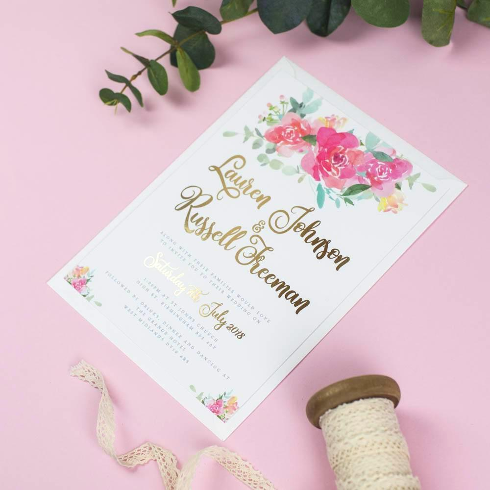 Foil Blossom Watercolour Flowers Wedding Invitations