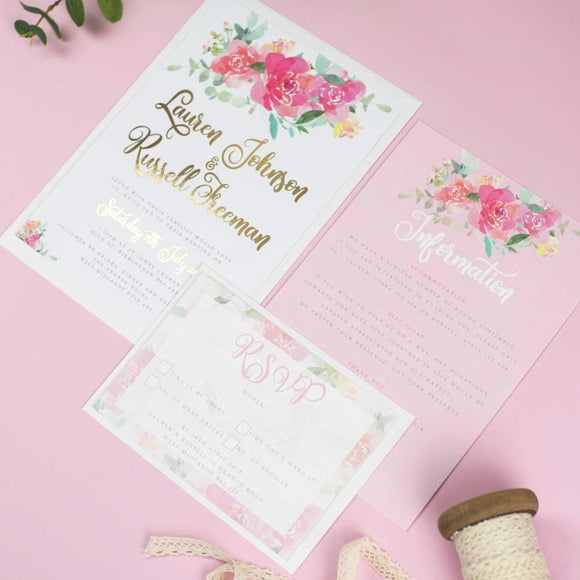 Foil Wedding Invitation - Foil Blossom Watercolour Flowers Wedding Invitations