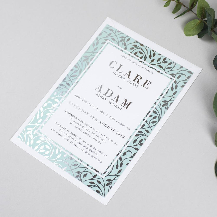 Foil Clare Vine Pattern Wedding Invitations