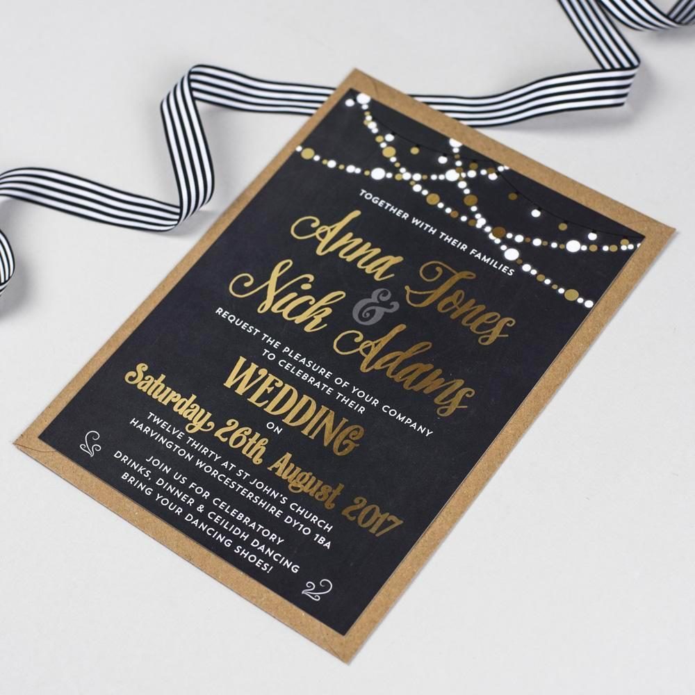 Foil Lizzie Fairy Lights Wedding Invitation