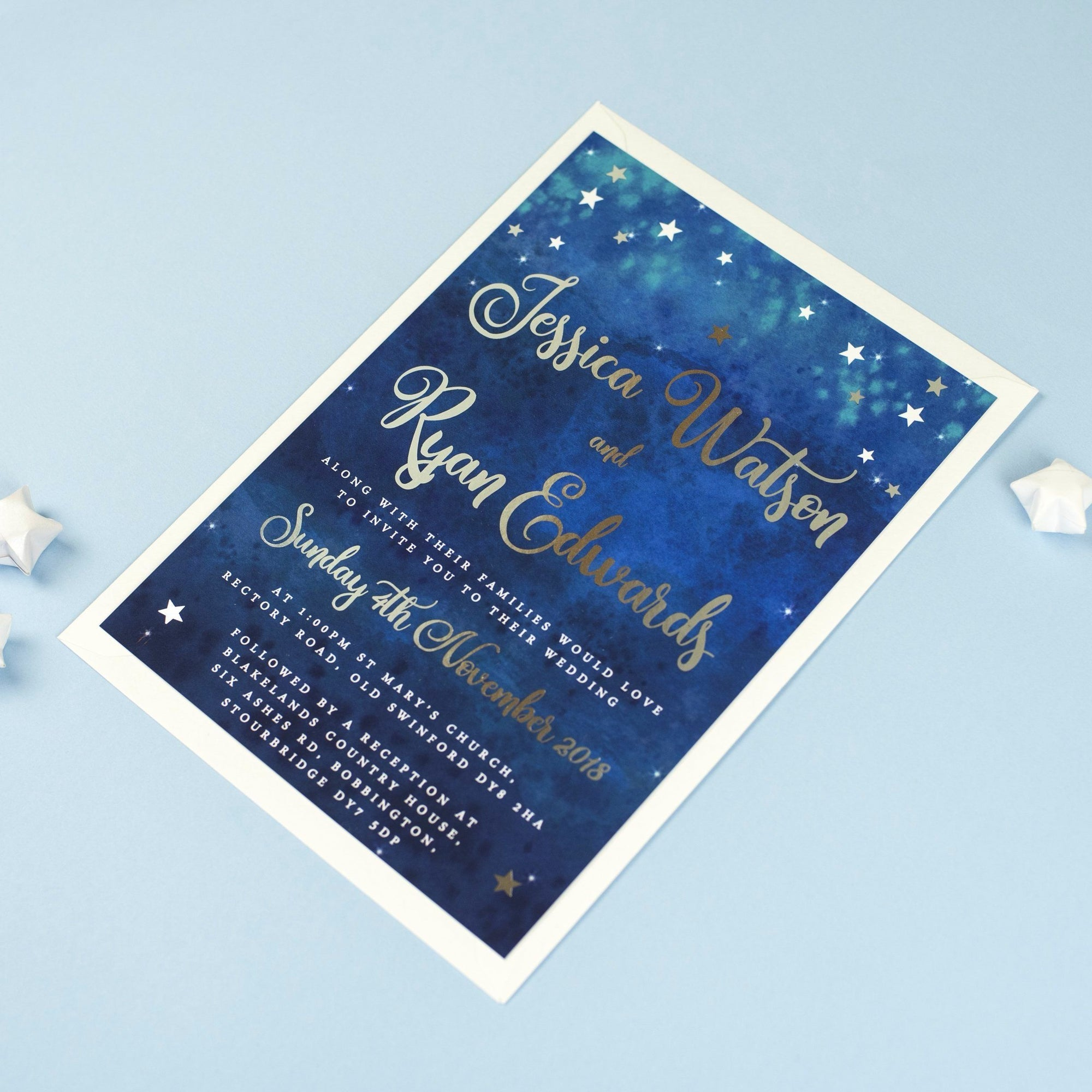 Superior Foil Yvaine Starry Night Sky Wedding Invitations