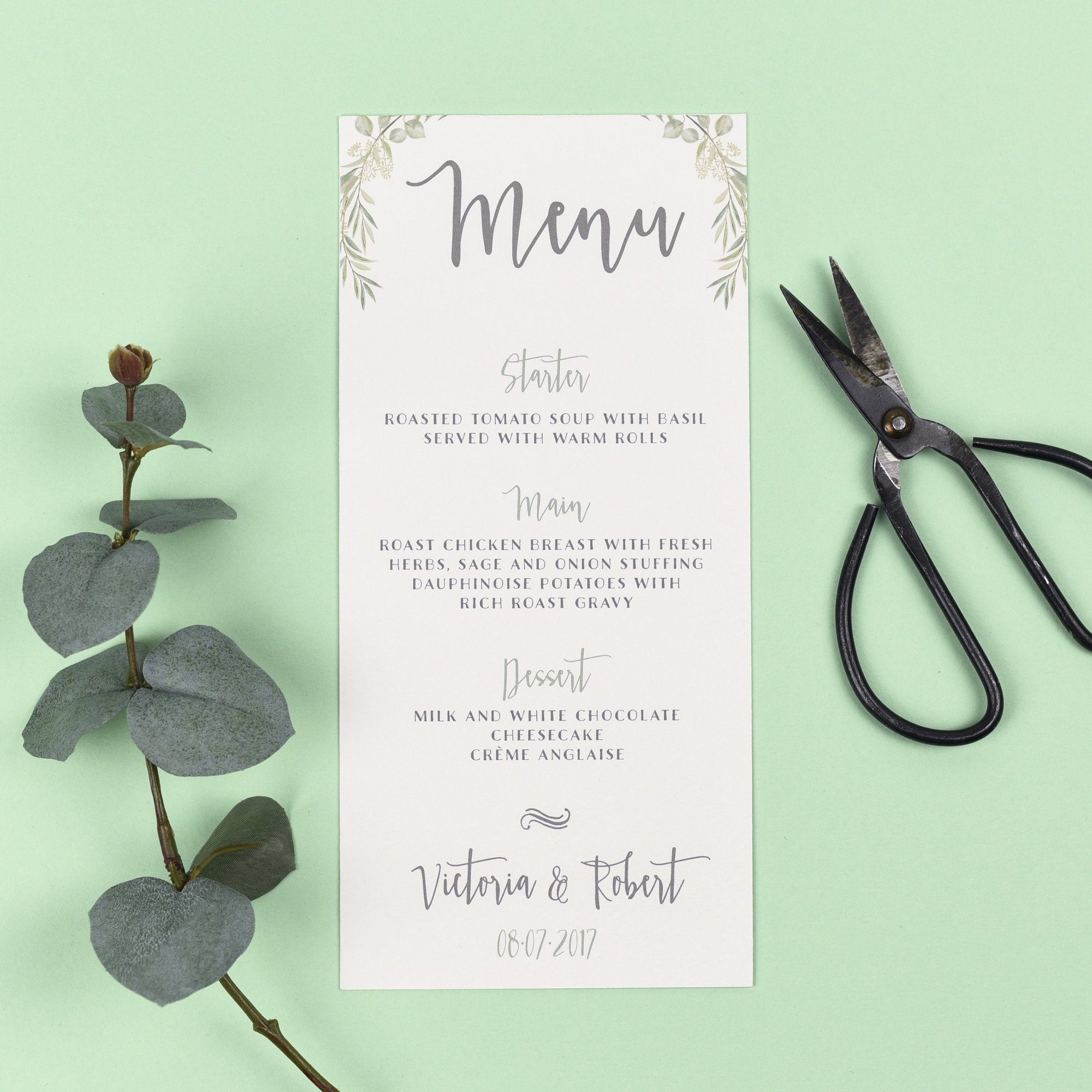 Menu - Aisling -  Watercolour Greenery Eucalyptus