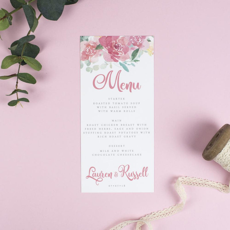 Menu - Blossom - Floral Watercolour Wedding