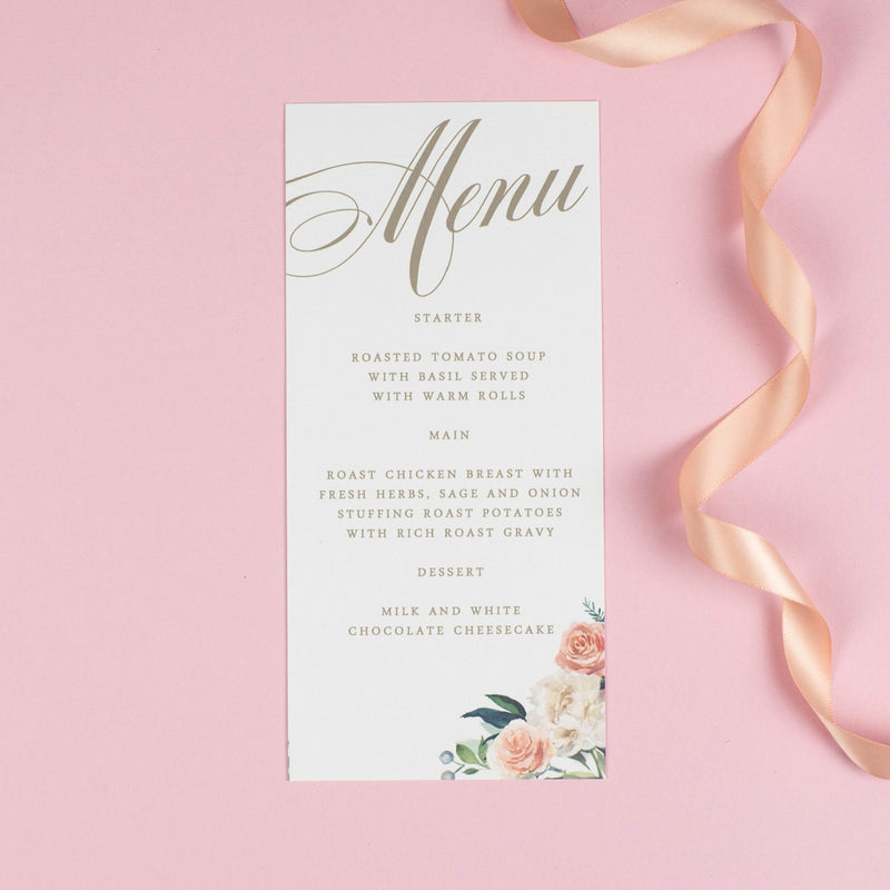 Menu - Charlotte - Floral Watercolour Wedding