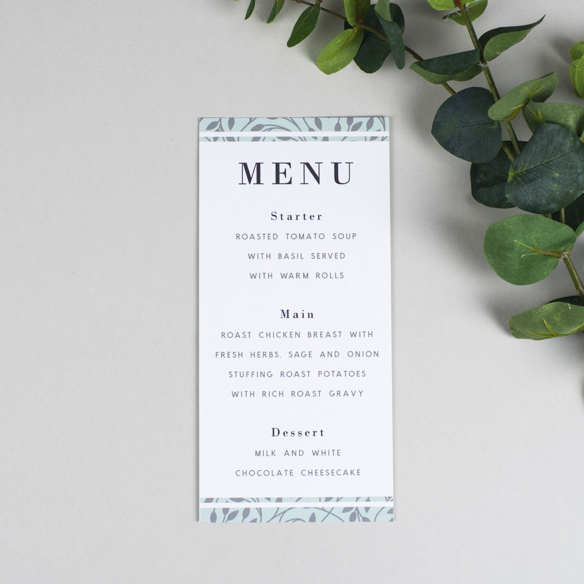 Menu - Clare - Vine Pattern Wedding