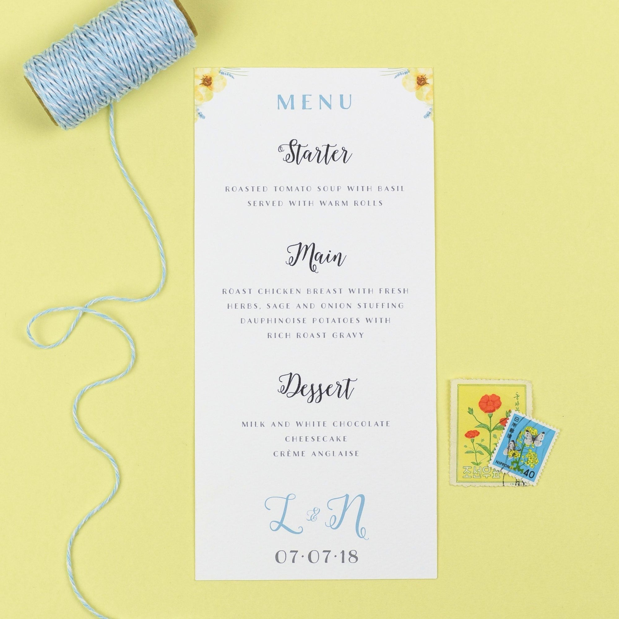Menu - Layla - Spring Flowers Wedding