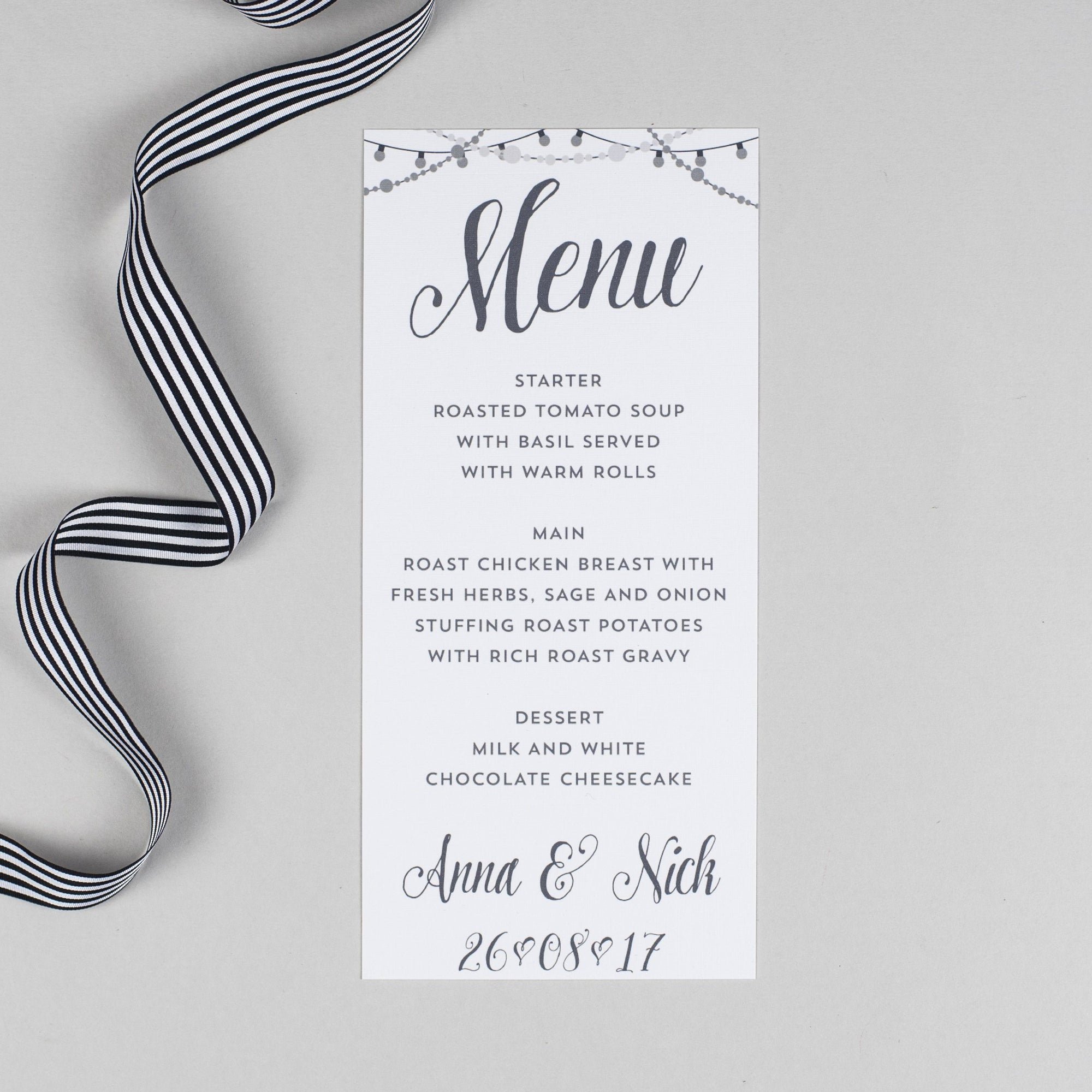 Menu - Lizzie - Chalkboard Fairy Lights