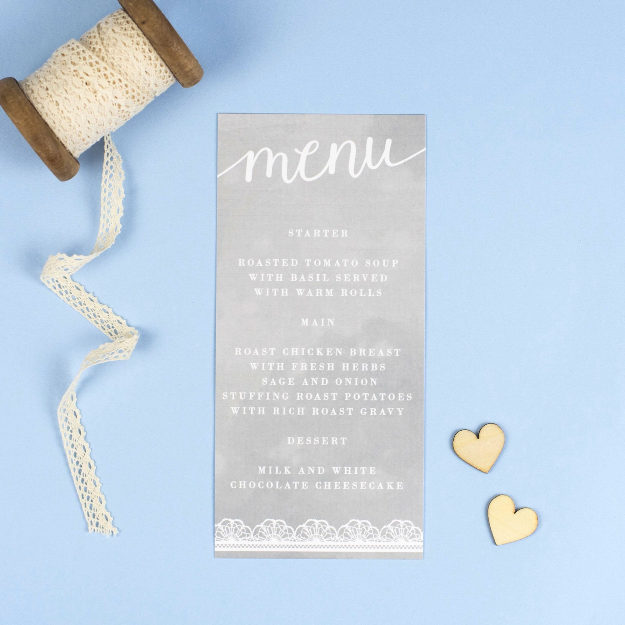 Menu - Molly - Watercolour Lace Wedding