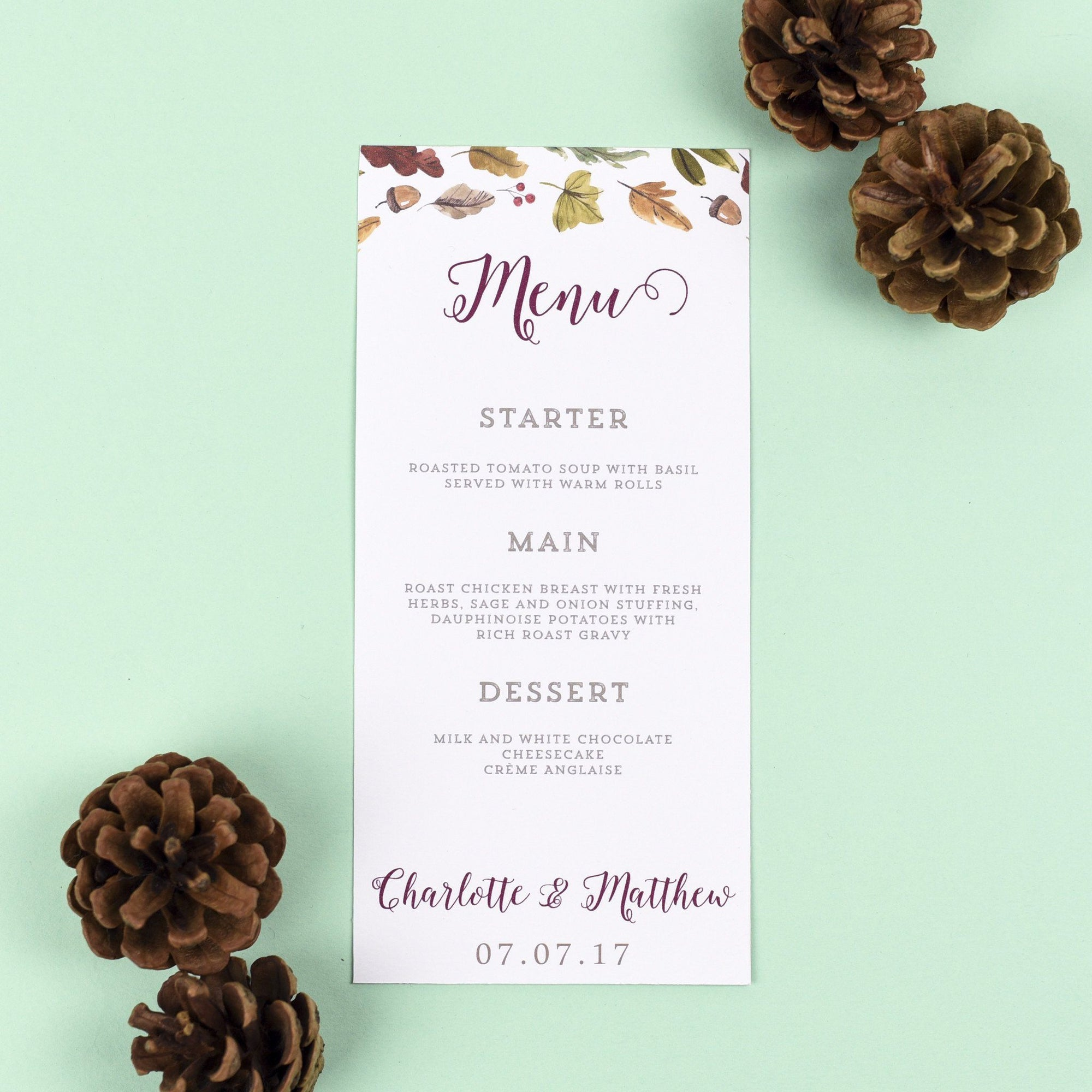 Menu - Octavia - Autumnal Wedding
