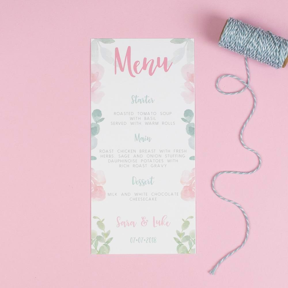 Menu - Rose - Floral Watercolour Wedding