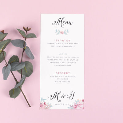 Menu - Selena - Watercolour Flowers