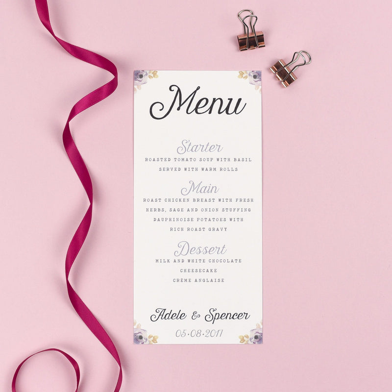 Menu - Viola - Vintage Watercolour Florals