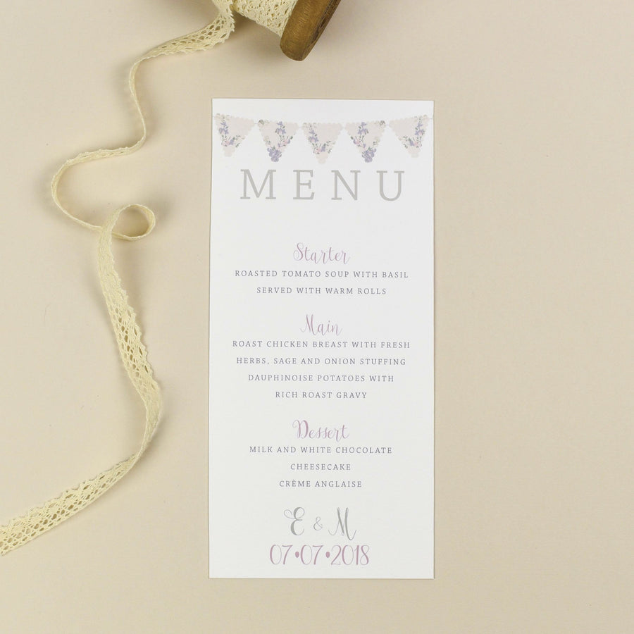 Menu - Violet - Vintage Bunting Wedding