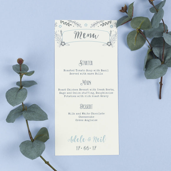 Menu - Menu - Willow - Rustic Wreath Wedding