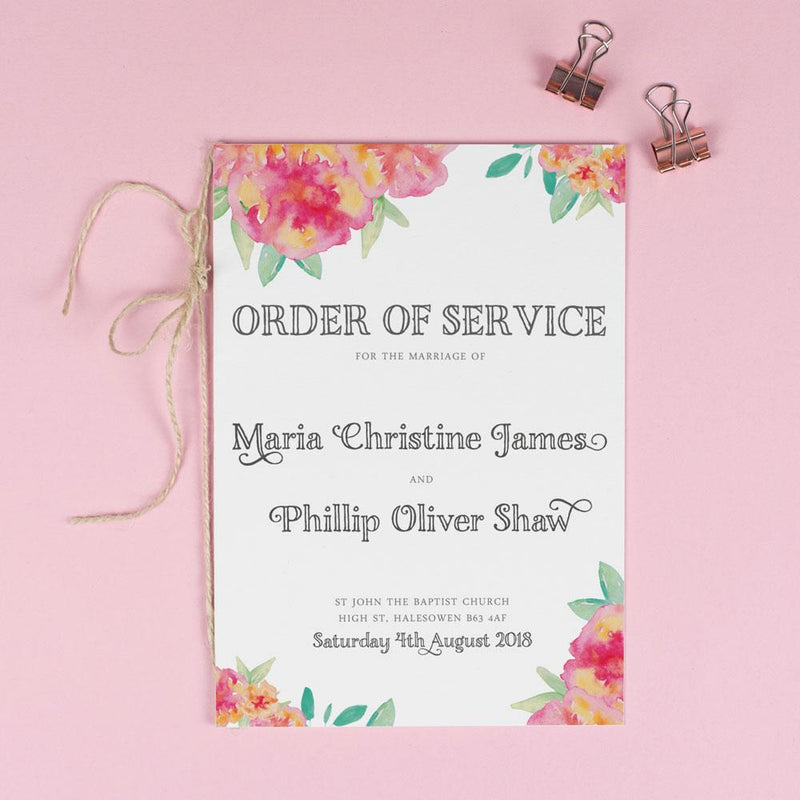 Order of Service - Christine - Floral Watercolour