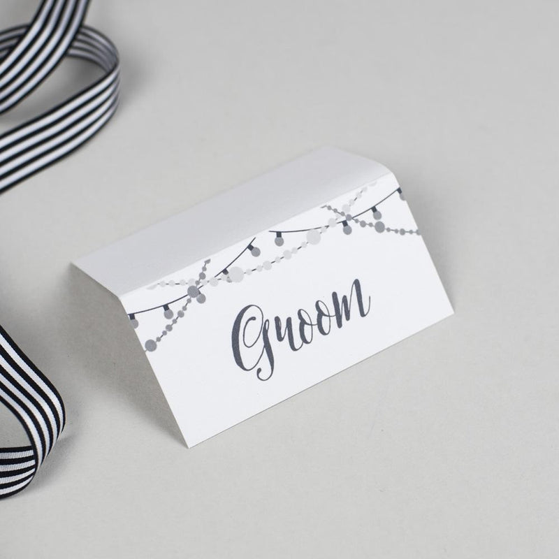 Place Card - Lizzie - Chalkboard Fairy Lights