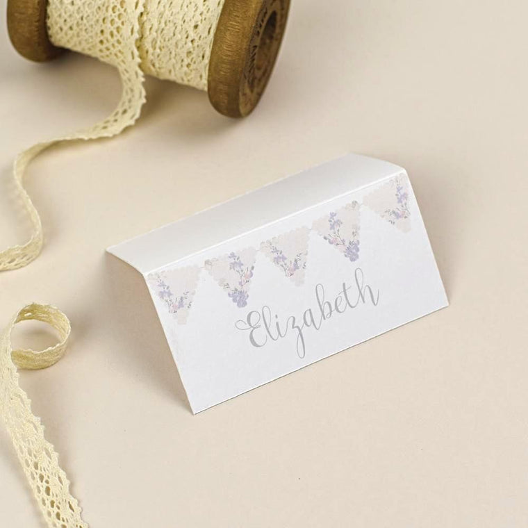 Place Cards - Place Card - Violet - Vintage Bunting