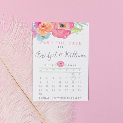 Save the Date - Bridget Watercolour Wedding Flowers