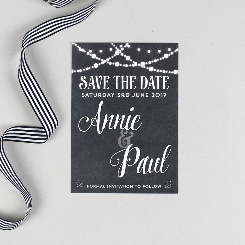 Save the Date - Lizzie Chalkboard Fairy Lights