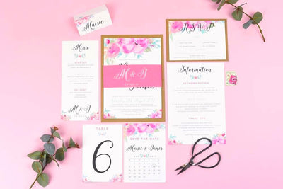 Save the Date - Selena Watercolour Wedding Flowers