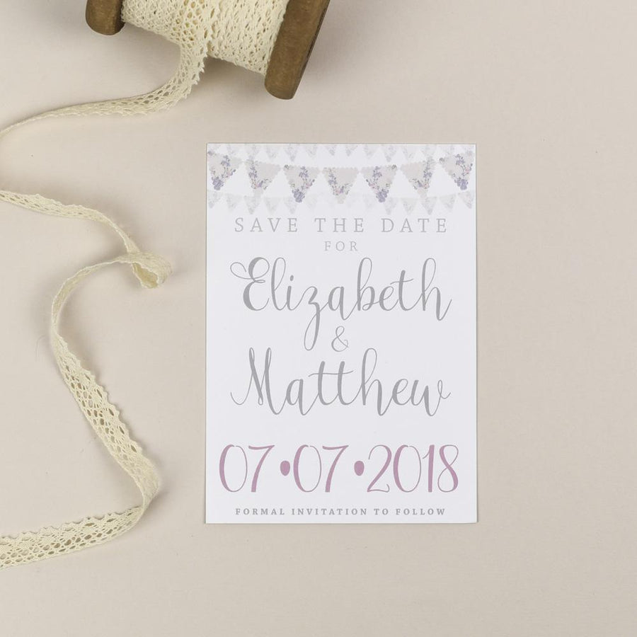 Save the Date - Violet Vintage Bunting