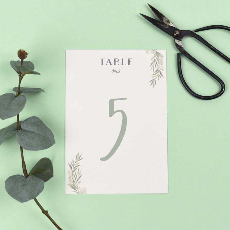 Table Names or Numbers - Aisling - Watercolour Greenery Eucalyptus