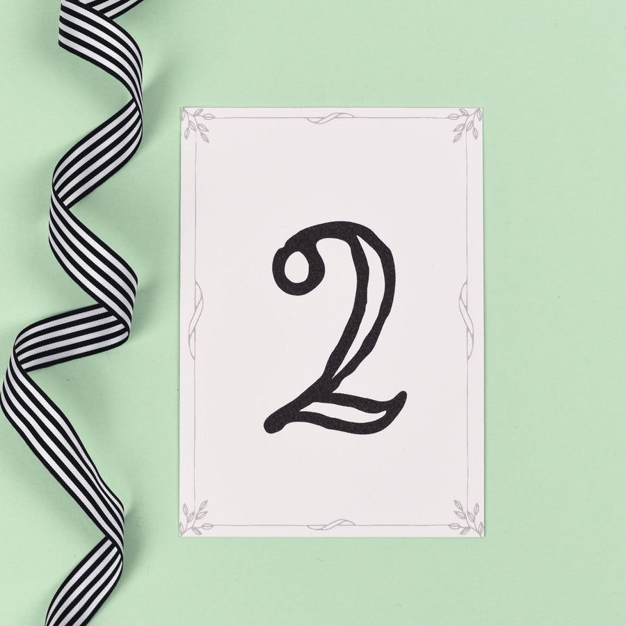 Table Names or Numbers - Alexa - Monochrome Silhouette Garden