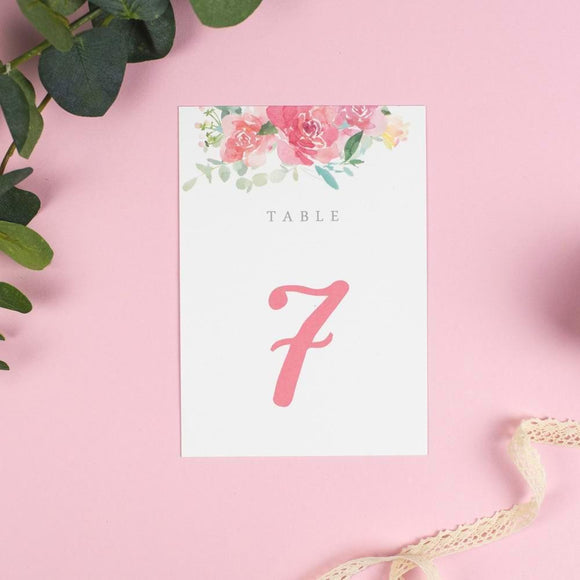 Table Number & Name - Table Names Or Numbers - Blossom - Watercolour Flowers Wedding