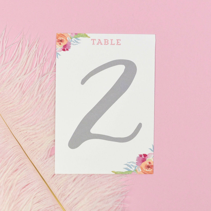Table Names or Numbers - Bridget - Watercolour Flowers