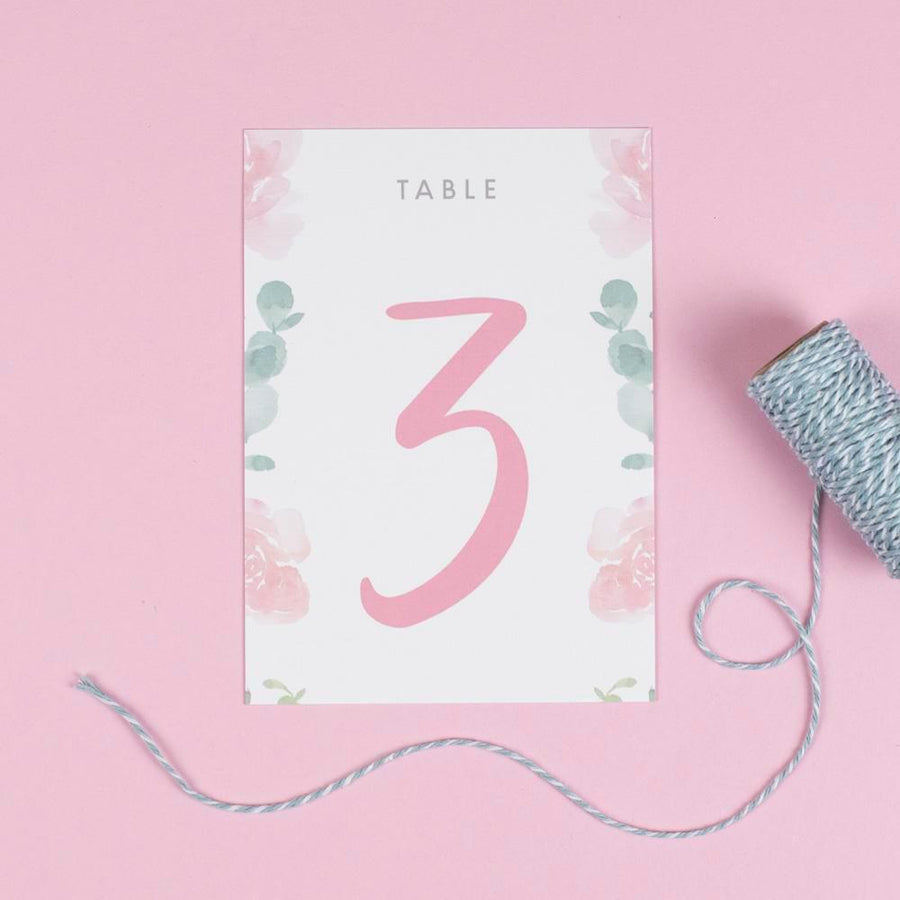 Table Names or Numbers - Rose - Watercolour Flowers