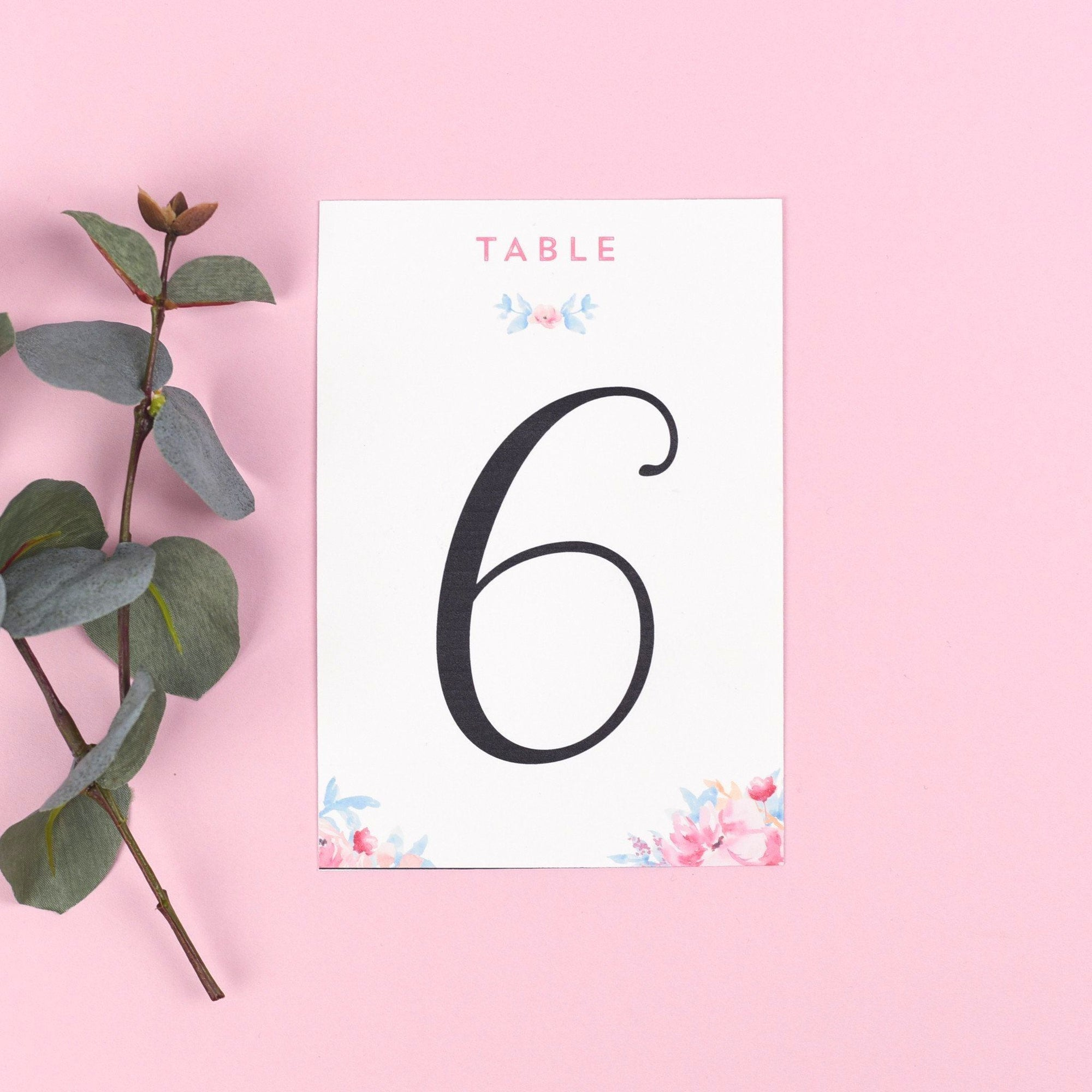 Table Names or Numbers - Selena - Watercolour Flowers